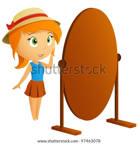 Beautiful girl looking at her reflection in mirror. Vector illustration. - stock vector