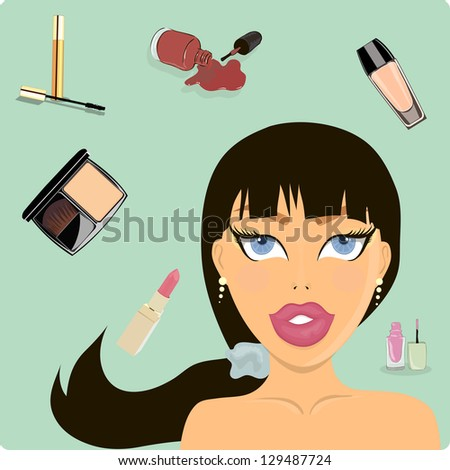 Beautiful girl. Makeup. Care. vector