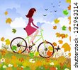 Beautiful girl on the bike - stock vector