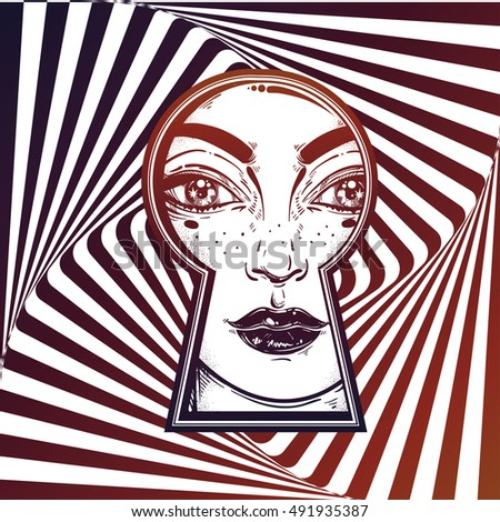Beautiful girl peeping through the keyhole. Graphic outline drawing in Noir retro style with vortex starburst spiral twirl square at the background. Isolated vector illustration.Trendy print.