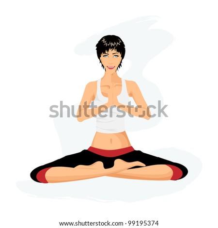 Beautiful girl practicing yoga in lotus posture (Padmasana) - stock vector