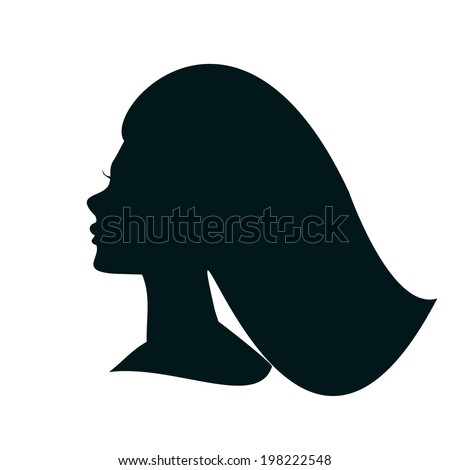 Beautiful Girl Profile Silhouette. Vector Icon of Woman's Head