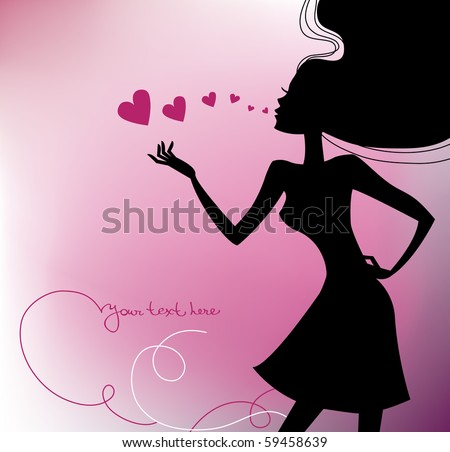 Beautiful girl silhouette with a hearts - stock vector
