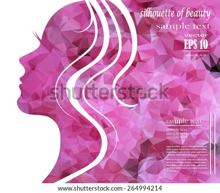 Beautiful girl silhouette with colorful hair, vector background. Abstract design concept for beauty salon, spa, cosmetic shop, flyer, brochure, cover, banner, placard. - stock vector