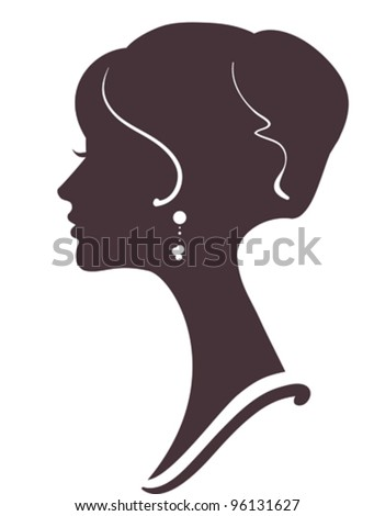 beautiful girl  silhouette with stylish hairstyle - stock vector