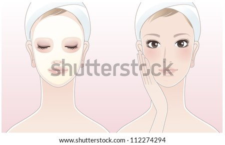 Beautiful girl,spa woman touching her face, Spa woman with a beauty mask on the pink background. Skin care. Relaxation. Aroma therapy. Beauty treatment. Facial cleansing Mask. - stock vector