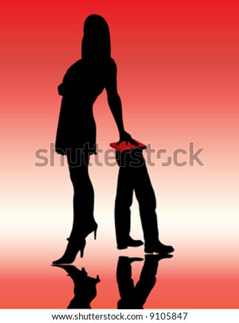 beautiful girl standing and recumbent on males legs - stock vector