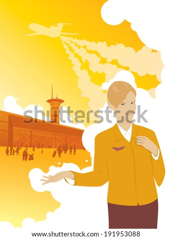 Beautiful girl stewardess offers travel by plane pointing to the airport. Over the airport the plane takes off. - stock vector