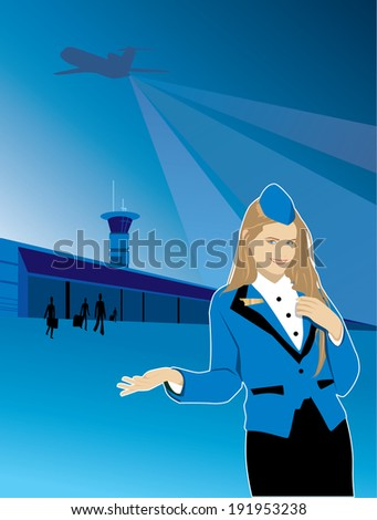 Beautiful girl stewardess offers travel by plane pointing to the airport. Over the airport the plane takes off - stock vector