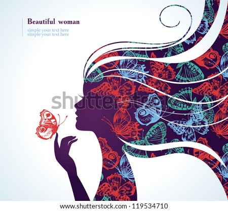 Beautiful girl with butterfly - stock vector