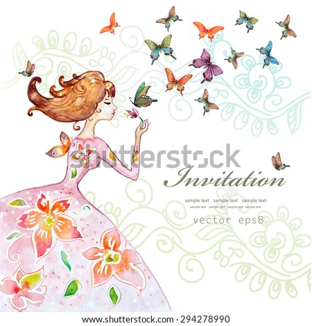 beautiful girl with butterfly. watercolor painting. vector illustration - stock vector