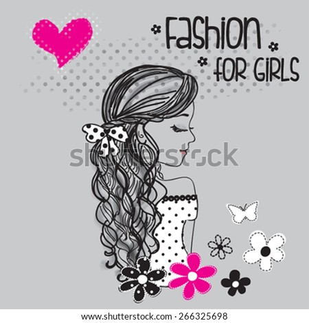 beautiful girl with flowers, fashion for girls, T-shirt design vector illustration - stock vector