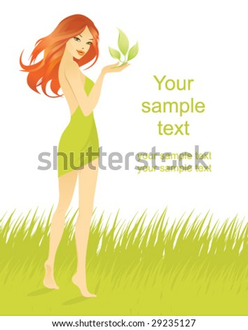 beautiful girl with green leaf - stock vector