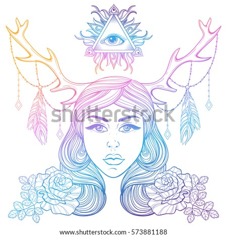 Vector illustration girl hawk mask month stock vector 454697473 beautiful girl with horns decorated boho elements color vector woman with roses all seeing pronofoot35fo Gallery