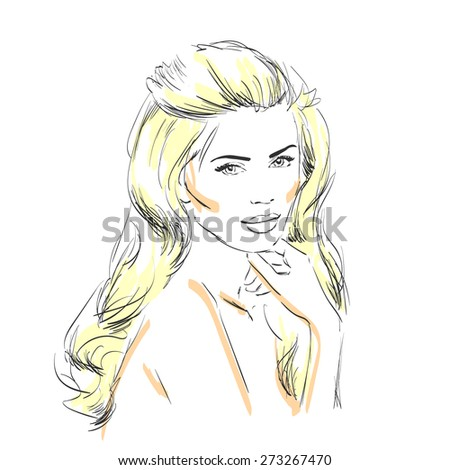 beautiful girl with long blond hair - stock vector