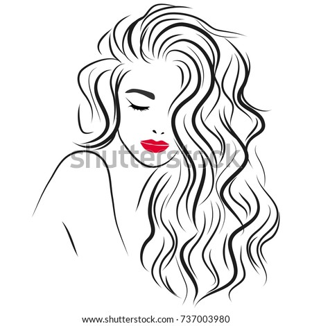 beautiful girl long curly hair red stock vector royalty