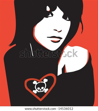 Beautiful girl with symbolic t-shirt - stock vector