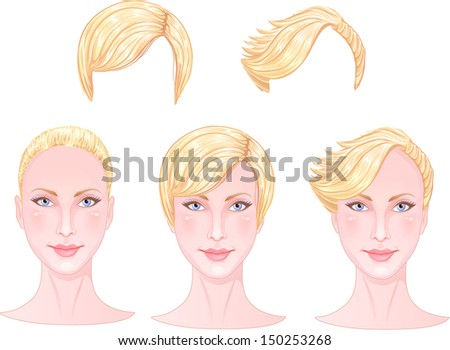 Beautiful girl with three different hairstyle - vector - stock vector