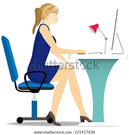 beautiful girl works on a computer, sitting in a chair at the table. - stock vector