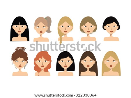 beautiful girls. background. Girl with hairstyles - stock vector
