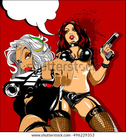 beautiful girls in a black bikini with three guns, vector