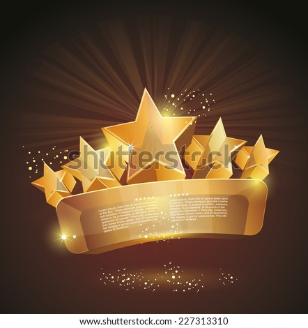 beautiful glass label sign with gold stars  - stock vector