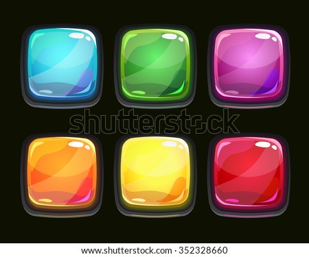 Beautiful glossy square shapes for web or game design, vector colorful shiny buttons on black background - stock vector