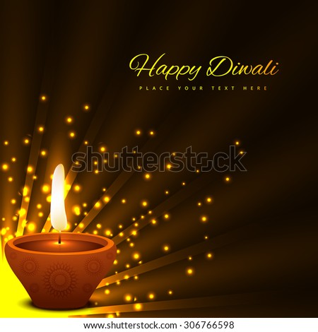 beautiful glowing diwali festival card bright colorful background vector - stock vector