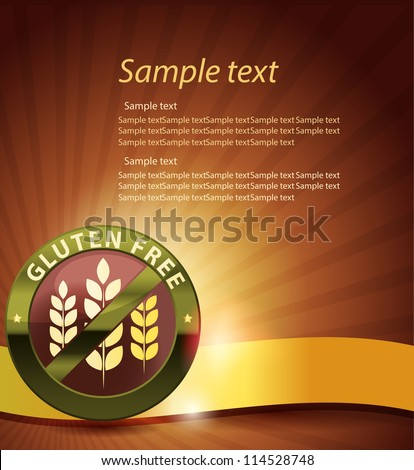 Beautiful gluten free design. Golden ribbon, harmonic and bright color combination. - stock vector