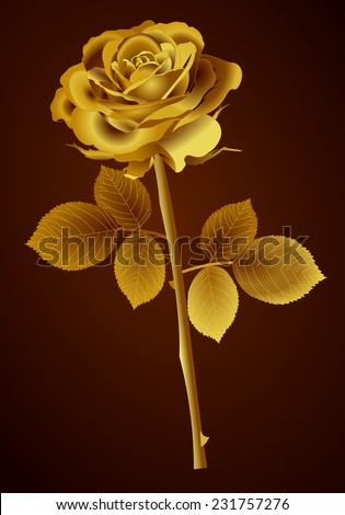 Beautiful Gold Rose Flower With Petals Stem Leaves And Thorns 3d Golden