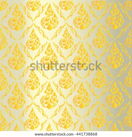 beautiful Gold Thai pattern seem floral, fern, leaves, lotus and fire pattern for page and ground-paper - stock vector
