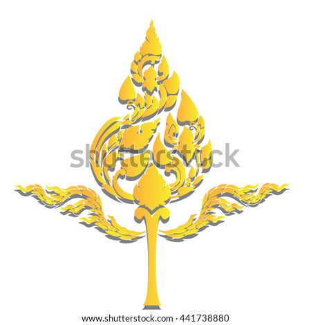 beautiful Gold Thai pattern seem floral, fern, leaves, lotus and fire pattern on white background for page and ground-paper - stock vector