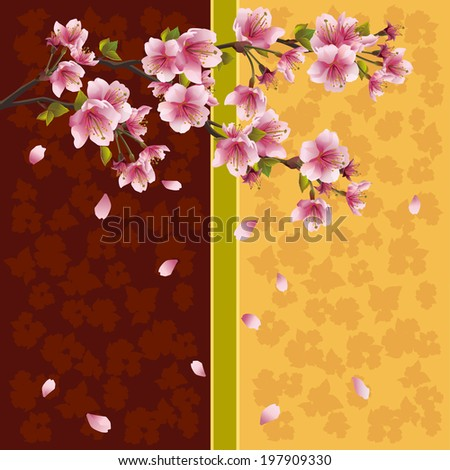 Beautiful golden-brown background with sakura blossom - Japanese cherry tree with falling petals. Greeting or invitation card in oriental style. Place for text. Vector illustration - stock vector