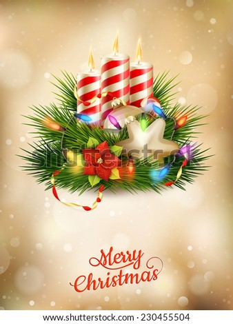 Beautiful golden Christmas background with candles. EPS 10 vector file included - stock vector