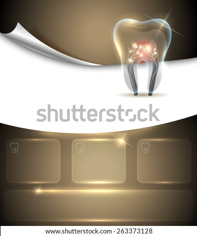Beautiful golden dental layout template.  - stock vector