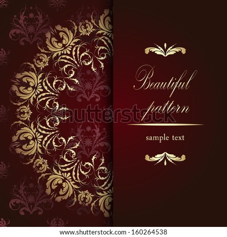 Beautiful golden floral pattern calligraphy on red velvet background with text - stock vector
