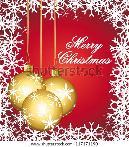 Beautiful golden ornaments on a festive vector greeting card. - stock vector