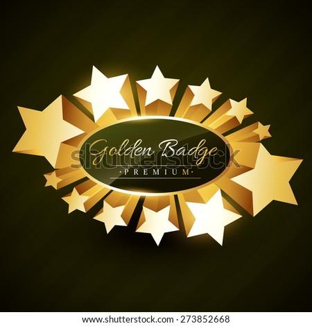 beautiful golden star burst label badge - stock vector