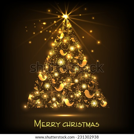 Beautiful golden X-mas tree on shiny brown background for Merry Christmas celebrations.