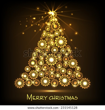 Beautiful golden X-mas tree on shiny brown background for Merry Christmas celebrations. - stock vector