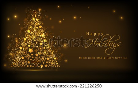 Beautiful golden Xmas tree on shiny brown background for Merry Christmas, New Year and Happy Holidays celebrations.  - stock vector