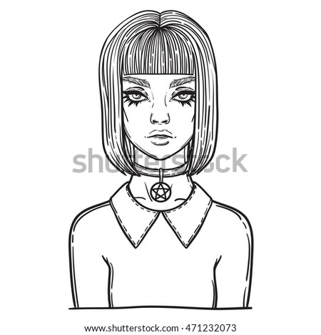 beautiful gothic girl with pentagram amulet. occult illustration