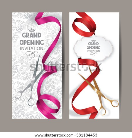 Beautiful grand opening invitation cards red stock vector 381184453 beautiful grand opening invitation cards with red and pink silk ribbons and floral background stopboris Gallery