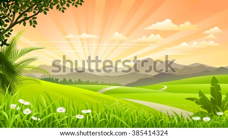 Beautiful grasslands with mountains and hills in the background - stock vector