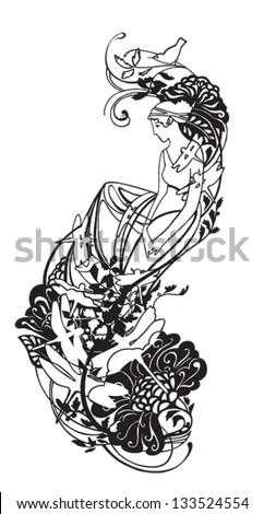 Beautiful Greek goddess. Tattoo, sticker on the wall, pattern. - stock vector