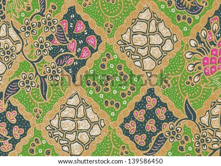 Beautiful green batik patterns - stock vector