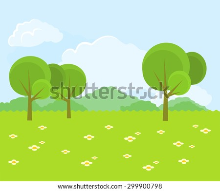 Beautiful green landscape. Vector flat illustration - stock vector