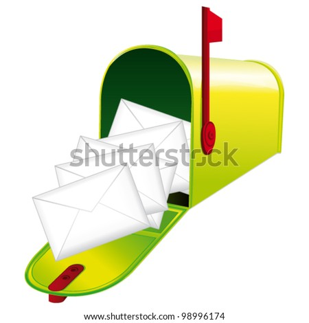 Beautiful green metallic opened mailbox full of letters. Vector icon. - stock vector
