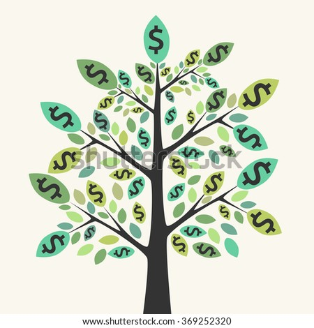 Beautiful green money tree. Business success, wealth, investment, achievement, prosperity, profit, income, earnings concept. EPS 8 vector illustration, no transparency - stock vector