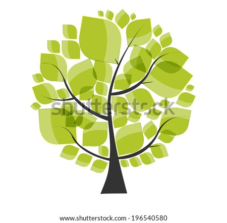 Beautiful Green Tree on a White Background Vector Illustration. EPS10 - stock vector